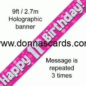 New Pink Holographic Happy 13th Birthday Flag Bunting Decoration 12.8ft Long