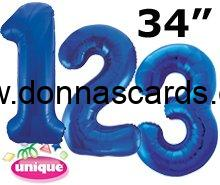 Blue Foil Number Balloons