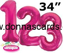 Pink Foil Number Balloons