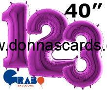 Purple 40 Inch foil number balloons