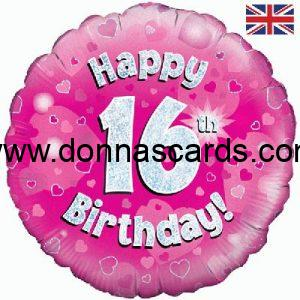Pink and Silver round foil age balloons